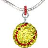 Game Time Bling Large Softball Necklace-Snake Chain Necklace - Citrine/Light Siam
