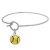 Game Time Bling Softball Dangle Bracelet - Citrine/Light Siam (Citrine/Red)