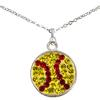 Game Time Bling Softball Dangle Necklace - Citrine/Light Siam (Citrine/Red)