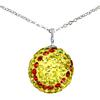 "Game Time Bling Softball Necklace - 18"" - Citrine/Light Siam"