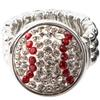 Baseball Stretch Snap Ring - Crystal/Light Siam (Crystal/Red)