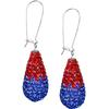 Game Time Bling 11x22mm Teardrop Earrings - Sapphire/Light Siam - Sold by the Pair