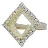 Adjustable Ring for Swarovski 4447 12mm Square Princess Stone Bright Gold
