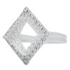 Adjustable Ring for Swarovski 4447 12mm Square Princess Stone Shiny Silver
