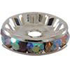 Bead Spacer, Rondelle, 12mm Crystal AB/Silver