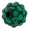 Round Pave Bead with 1.2mm hole, Alora Crystals Emerald 6 mm