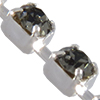 Cupchain with Swarovski Chatons, Black Diamond in Imitation Rhodium Plated Chain