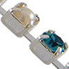 Cupchain with Swarovski Chatons, Blue Zircon/Pearl in Silver Chain