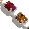 Cupchain with Swarovski Chatons, Topaz/Crystal/Siam in Silver Chain