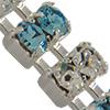 Swarovski Double Row Rhinestone Chain pp24 Aqua/Crystal/Sterling Silver