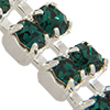 Swarovski Double Row Rhinestone Chain pp24 Emerald/Sterling Silver