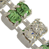 Swarovski Double Row Rhinestone Chain pp24 Peridot/Crystal/Sterling Silver