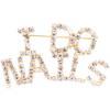 I Do Nails (Crystal/Gold) Rhinestone Pin