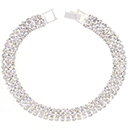 3 Row Tennis Bracelet, Crystal/Silver
