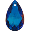 Spark Crystal Pear Shape Faceted Pendant, Iridescent Blue 22mm
