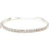 2 Row Stretch Rhinestone Choker Necklace Crystal AB /Silver
