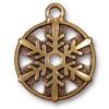 TierraCast® Antique Gold 3/4 Snowflake Charm, Drop