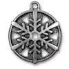 "TierraCast® Antique Silver 1"" Snowflake Charm, Drop"
