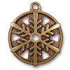 """TierraCast® Antique Gold 1"""" Snowflake Charm, Drop"""