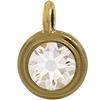 TierraCast® Charm, SS34 STEPPED BEZEL, Gold plated, Crystal