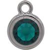 TierraCast® POST, SS34 STEPPED BEZEL, Rhodium plated, Emerald