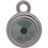 TierraCast® POST, SS34 STEPPED BEZEL, Rhodium plated, Jet Hematite