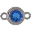 TierraCast® Link, SS34 STEPPED BEZEL, Rhodium plated, Sapphire