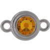 TierraCast® Link, SS34 STEPPED BEZEL, Rhodium plated, Topaz