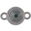 TierraCast® Link, SS34 STEPPED BEZEL, Rhodium plated, Jet Hematite