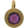 TierraCast® Charm, SS34 STEPPED BEZEL, Gold plated, Amethyst