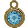 TierraCast® POST, SS34 STEPPED BEZEL, Gold plated, Aqua