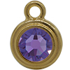 TierraCast® Charm, SS34 STEPPED BEZEL, Gold plated, Tanzanite