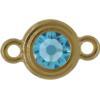TierraCast® Link, SS34 STEPPED BEZEL, Gold plated, Aqua