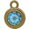 TierraCast® Drop, SS34 STEPPED BEZEL, Gold plated, Aqua