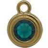 TierraCast® POST, SS34 STEPPED BEZEL, Gold plated, Emerald