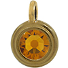TierraCast® Charm, SS34 STEPPED BEZEL, Gold plated, Topaz