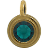 TierraCast® Charm, SS34 STEPPED BEZEL, Gold plated, Emerald