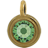 TierraCast® Charm, SS34 STEPPED BEZEL, Gold plated, Peridot