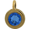 TierraCast® Charm, SS34 STEPPED BEZEL, Gold plated, Sapphire