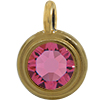TierraCast® Charm, SS34 STEPPED BEZEL, Gold plated, Rose