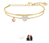 Swarovski Collections Mickey and Minnie Bangle, White, Gold-Tone Plated