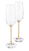 Swarovski Collection Crystalline Toasting Flutes Gold Tone (Set of 2)