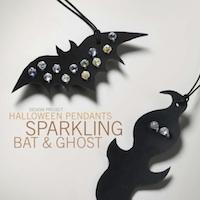 Halloween Pendants Sparkling Bat and Ghost